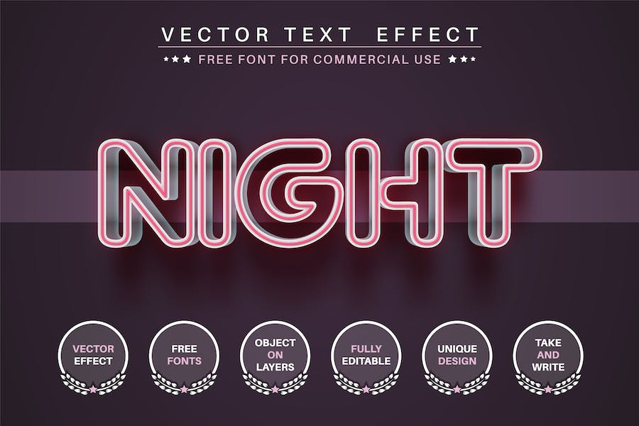 Neon line - editable text effect, font style