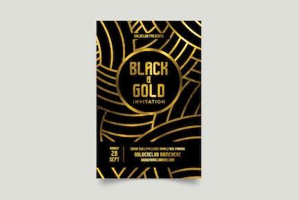 dépliant noir et or