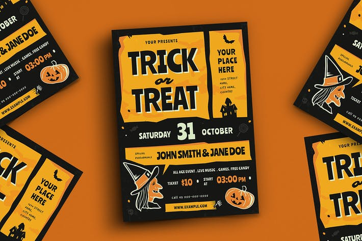 Thumbnail for Trick Or Treat Halloween Event Flyer