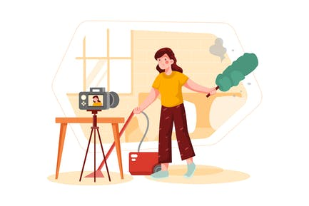 Vlogger Woman Shooting Video About Housekeeping