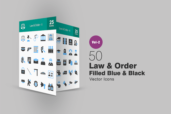 Thumbnail for 50 Law & Order Blue & Black Icons