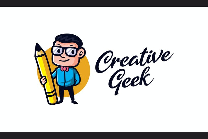 Thumbnail for Cartoon Creative Geek Mascot Logo