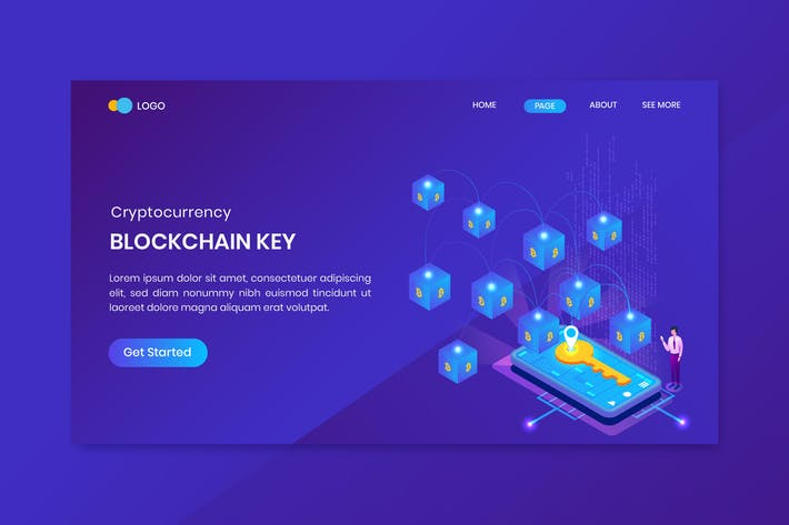 Thumbnail for Isometric Bitcoin Blockchain Key Landing Page