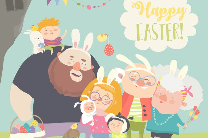 Thumbnail for Cute family celebrating Easter. Vector greeting