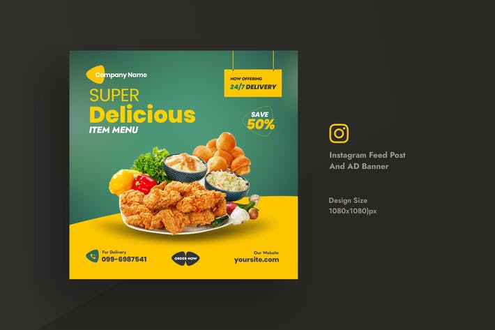 Restaurant & Food Social Media Instagram Feed Post