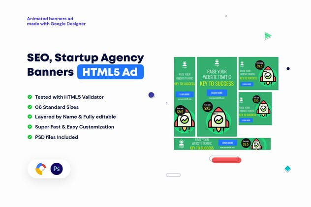 SEO, Startup Agency Banners HTML5 Ad