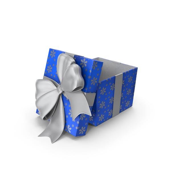Gift Box Cube Blue Open