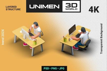 Человек, сидящий за столом Рисование на ПК 2 Views