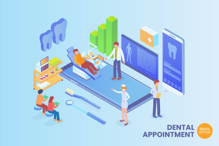 Thumbnail for Isometric Dental Appointment Vector Concept