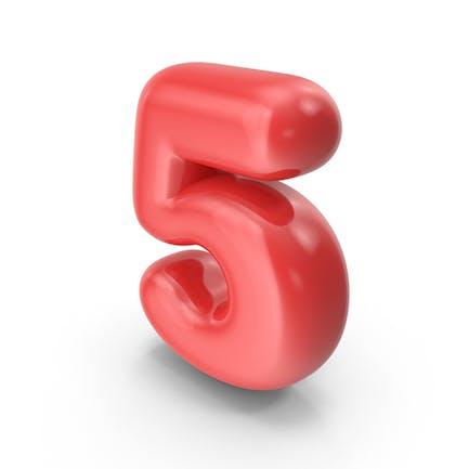 Roter Toon-Ballon Nummer 5
