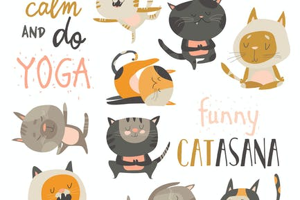Cute cats in yoga postures. Vector collection