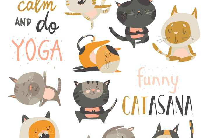 Thumbnail for Cute cats in yoga postures. Vector collection