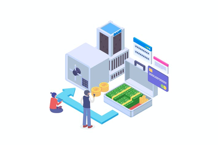 Thumbnail for Money Transfer To Banking Account Isometric Vector