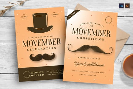 Movember Mustache Flyer Templates