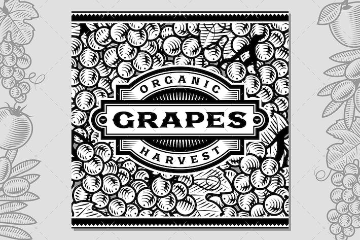 Thumbnail for Retro Grapes Harvest Label Black And White