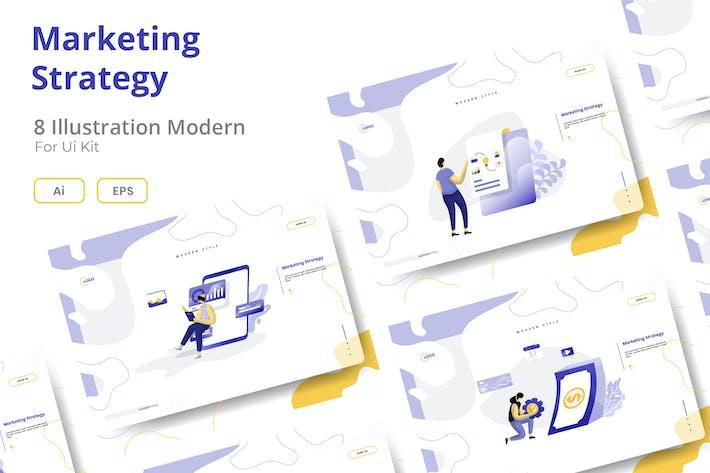 Thumbnail for Marketing-Strategie-Set Illustration