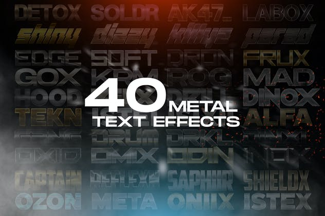 40 Metal Text Effects - Photoshop Layer Styles