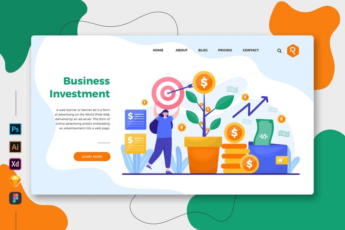 Thumbnail for Business Investment - Web & Mobile Landing Page