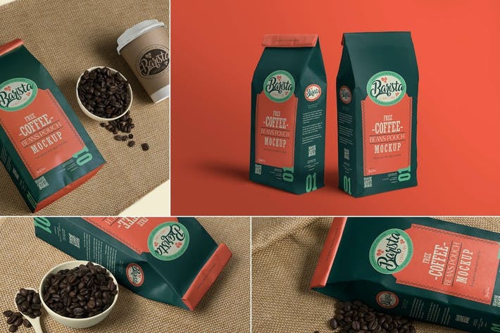 Thumbnail for 4 Coffee Pouch Mockups