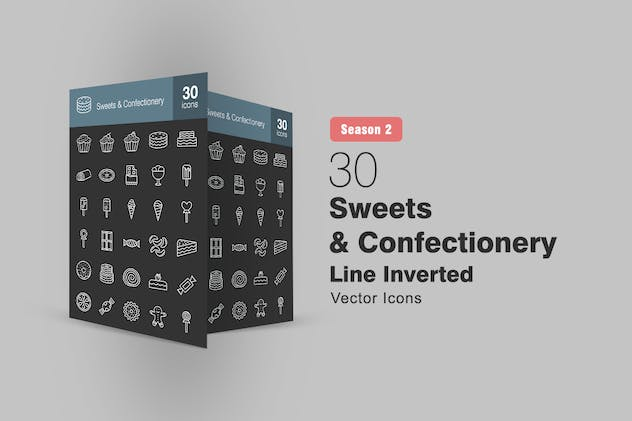 30 Sweets & Confectionery Line Inverted Icons S2