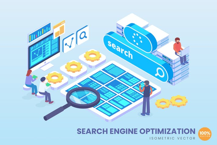 Thumbnail for Isometric Search Engine SEO Vector Concept