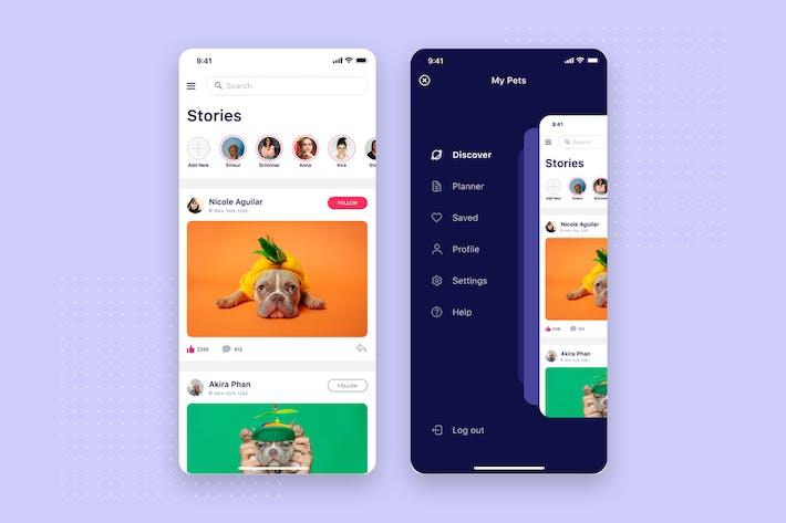 Thumbnail for Social & Menu mobile UI Concept