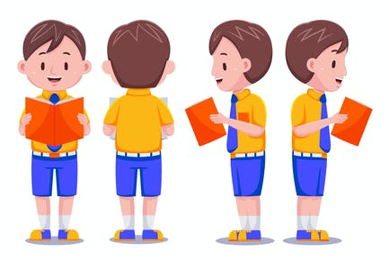 Cute Kids Boy Student with Books #01