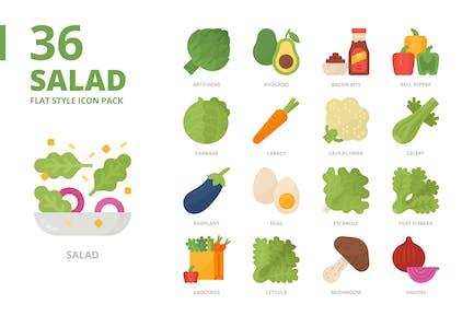 Conjunto de iconos de estilo plano de ensalada