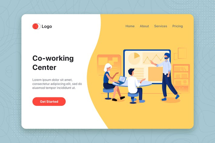 Thumbnail for Co-working Center Illustration - Website Header