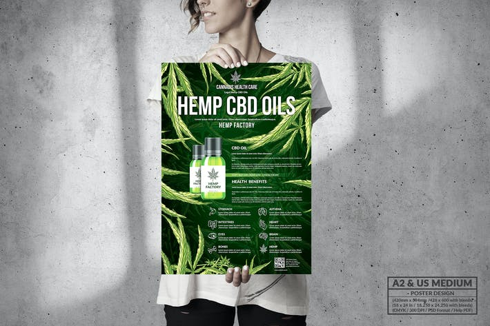 Thumbnail for CBD Hemp Oils Poster - A2 & US Medium