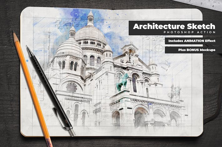 Thumbnail for Animated Architecture Sketch Photoshop Action
