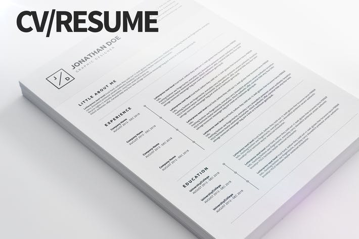 Thumbnail for CV/Resume 04 - Clean and Minimal Print Ready