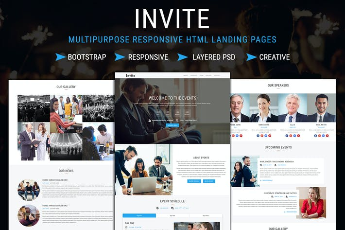 Thumbnail for INVITE - Responsive HTML Landing Pages