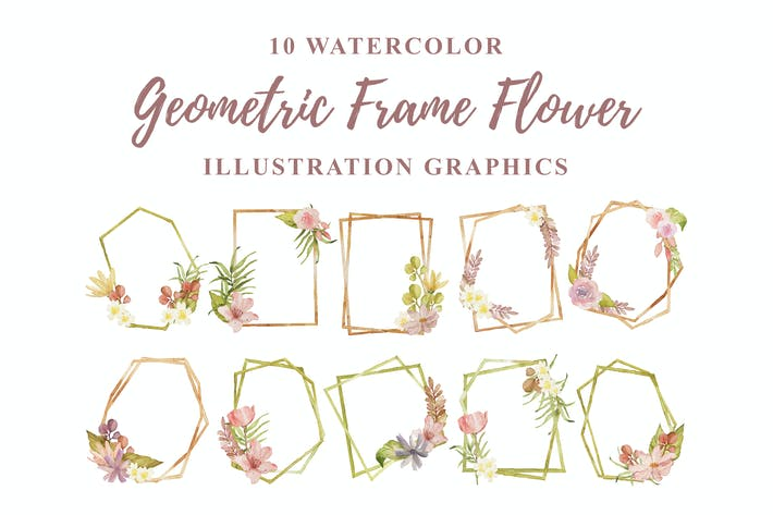 Thumbnail for 10 Watercolor Geometric Frame Flower Illustration