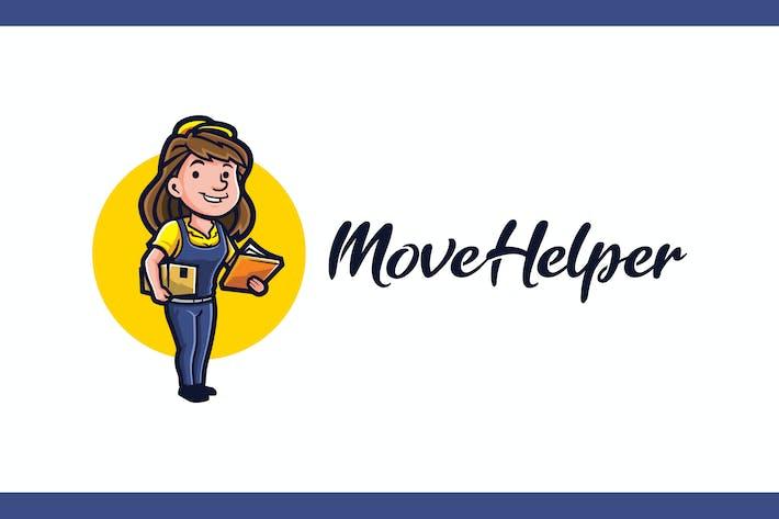Retro Moving Helper Girl - Moving Service Logo