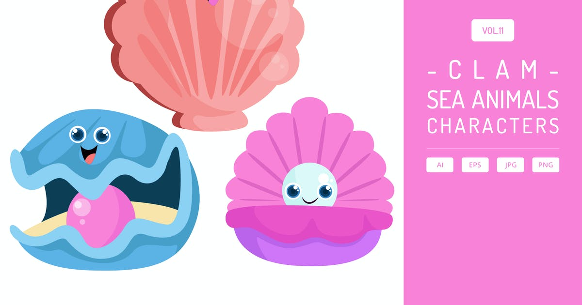 Download Cute Clam - Sea Animals Characters Vol.11 by Graphiqa