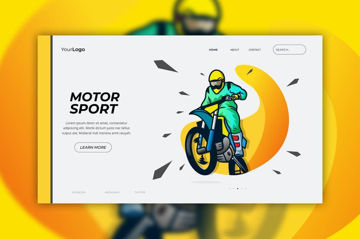 Cover Image For Motor Sport - Web Header Vector Template