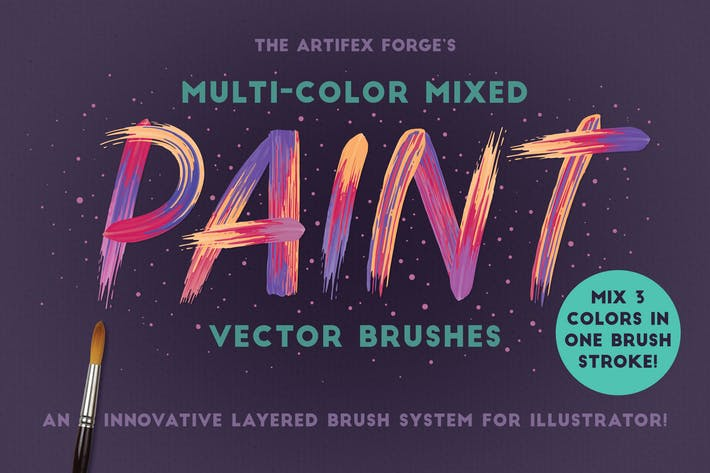 Thumbnail for Multi-color, Mixed Paint Brushes