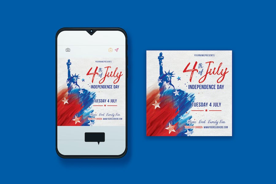 4th of July Instagram Post Design with Statue of Liberty