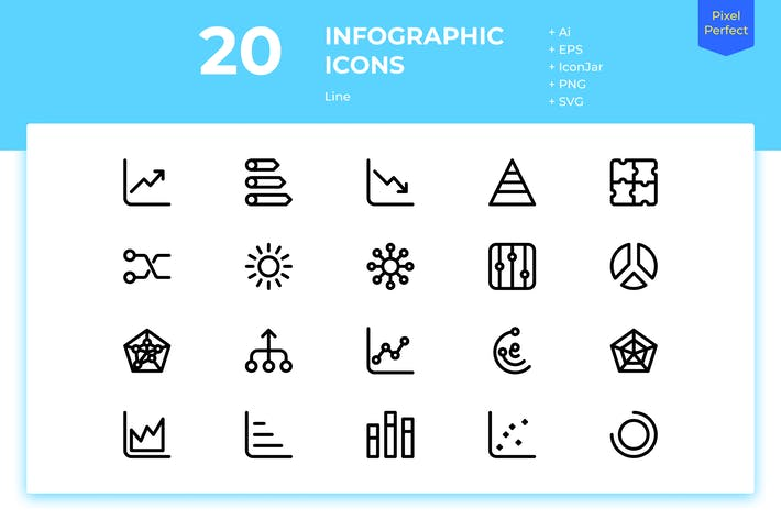 Thumbnail for 20 Infographic Icons (Line)