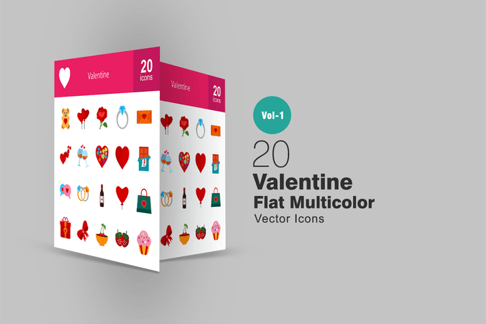 Thumbnail for 20 Valentine Flat Multicolor Icons