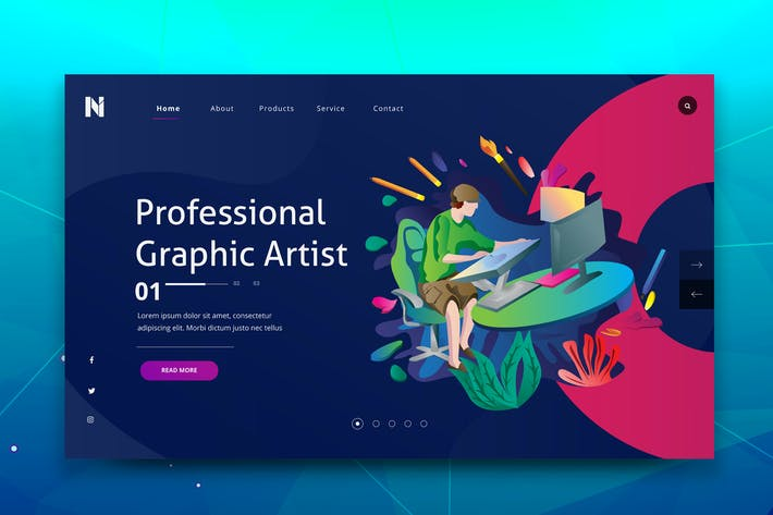 Thumbnail for Remote Graphic Artist Web PSD and AI Template