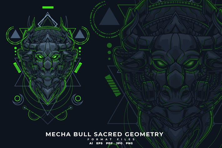 Thumbnail for MECHA BULL SACRED GEOMETRY