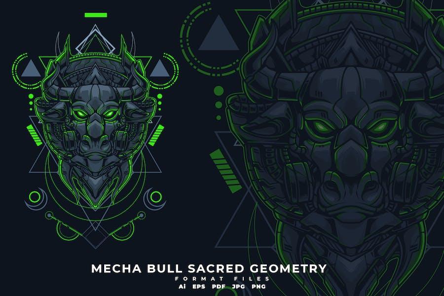 MECHA BULL SACRED GEOMETRY