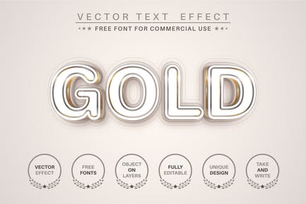 Gold line - editable text effect, font style
