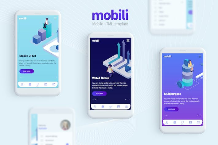 Cover Image For Mobili - HTML Mobile Template