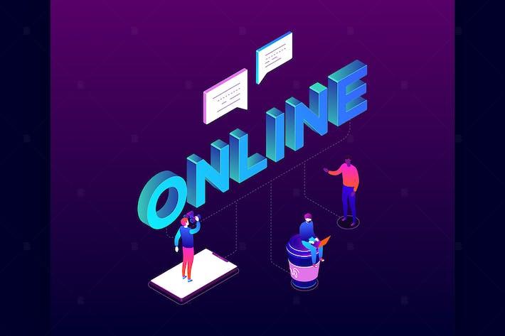 Thumbnail for Chatting online - isometric illustation