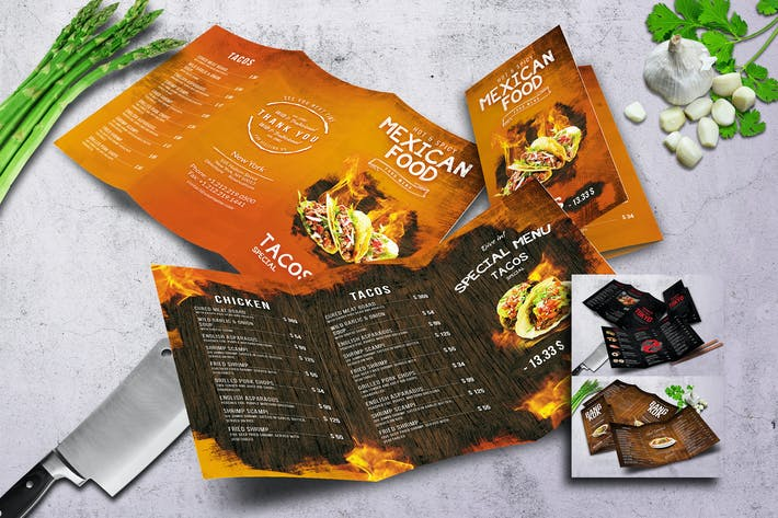 Thumbnail for Oriental Trifold Food Menu Bundle