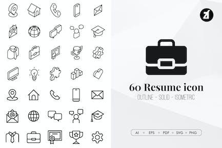 60 Resume essential icon pack