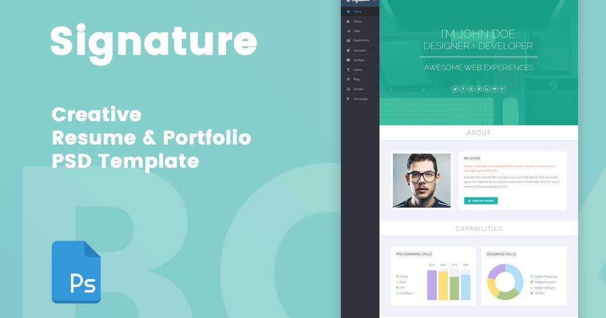 Download Signature - Creative Resume & Portfolio PSD Templa by bigpsfan